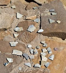 Pottery Shards, Chaco Canyon, New Mexico Royalty Free Stock Images