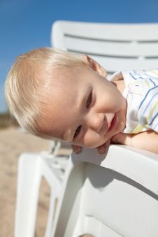 Free Little Child In Beach Chair Stock Photos - 14841153