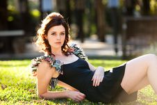 Free Young Woman Lying In The Park Royalty Free Stock Photos - 14843228