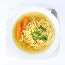 Free Chicken Soup With Macaroni And Carrots Royalty Free Stock Photos - 14843268