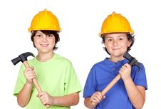 Free Couple Of Children With Helmet And Hammer Royalty Free Stock Images - 14843919