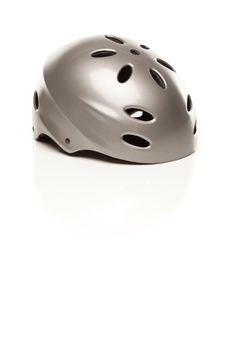 Free Silver Bike Helmet On White Stock Photography - 14844872