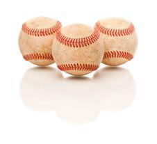 Free Three Baseballs Isolated On Reflective White Stock Images - 14845094