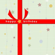 Birthday Card With Red Ribbon (Green) Royalty Free Stock Photography