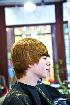 Free Smiling Young Boy  At The Hairdresser Stock Photo - 14846880