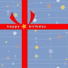 Birthday Card With Red Ribbon (Blue) Royalty Free Stock Photo