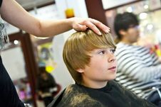Free Young Boy  At The Hairdresser Stock Images - 14846964