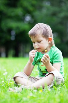 Free Portrait Of A Boy Smelling Flowers Stock Image - 14848061