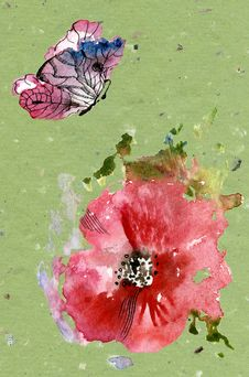 Red Poppies And A Butterfly Royalty Free Stock Images