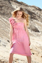 Free Girl In The Dress With Pink Roses Stock Photography - 14851042