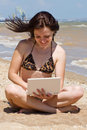 Free Smiling Girl With A Notebook At The Beach Stock Images - 14856204