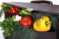 Free Brown Briefcase With Ripe Fresh Vegetables Royalty Free Stock Images - 14857709