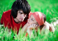 Free Boy And Nice Girl On Grass Stock Photography - 14850052