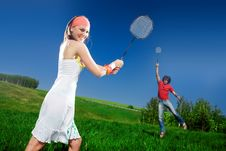 Boy And Nice Girl With Rackets Royalty Free Stock Photography