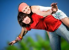 Boy And Smiling Girl Royalty Free Stock Photo