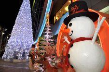 Free Snowman Christmas Display Night Set Stock Photos - 14850413