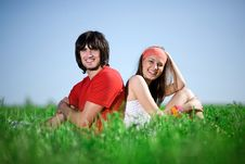 Free Boy With Long-haired Girl On Grass Stock Images - 14850504