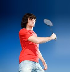 Free Boy With Racket On Blue Background Royalty Free Stock Photography - 14850517