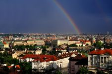The Prague And Rainbow Royalty Free Stock Images
