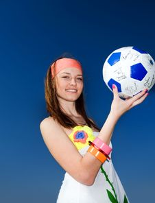 Free Girl With Ball On Blue Background Stock Photography - 14850802
