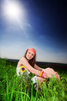 Free Long-haired Girl On Grass Royalty Free Stock Photos - 14850838