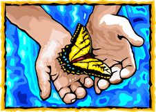 Free Hands And Butterfly. Royalty Free Stock Images - 14851049