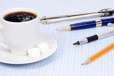 Free Coffee And Pens At Paper Stock Images - 14851254