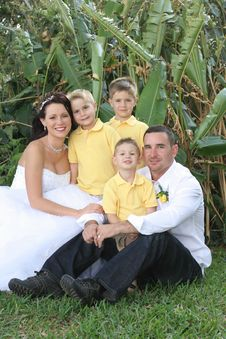Happy Gorgeous Bride, Husband And Children Royalty Free Stock Images