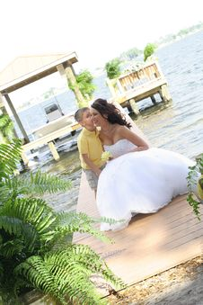 Free Bride Receiving A Kiss Stock Images - 14851934