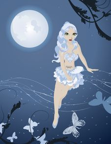 Lunar Fairy In Night Sky With Butterflies Stock Image