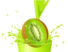 Free Kiwi Falling In Juice Royalty Free Stock Photography - 14854157