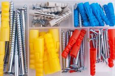 Free Screws And Plugs In Plastic Toolbox, Top View Stock Photography - 14854412