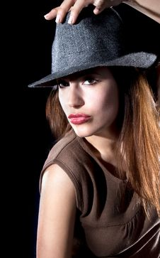Free Beautiful Fashion Woman Portrait With Grey Hat Stock Photography - 14854692