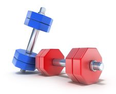 Free Colorful Dumbbells On The White Royalty Free Stock Images - 14855569