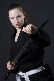 Female Samurai Holding Katana Stock Images