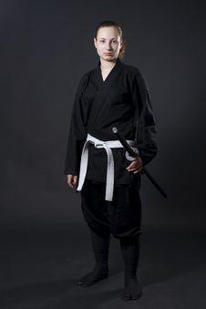 Free Female Samurai Holding Katana Stock Image - 14856181