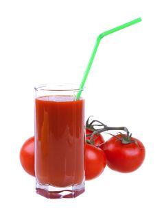 Glass Of Fresh Tomato Juice With Tomatoes Royalty Free Stock Image