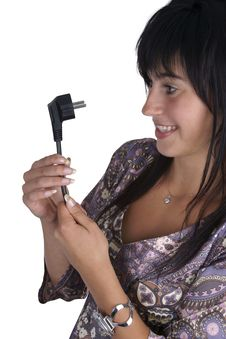 Free Woman Looking At The Power Plug Stock Photo - 14857820