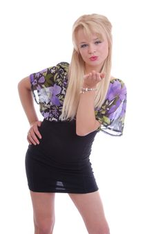 Free Pretty Blond Girl Blowing Kiss Stock Images - 14858204