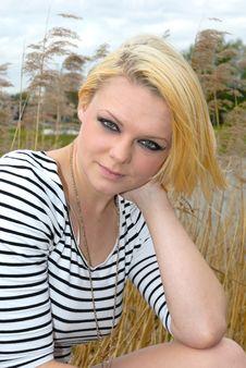 Pretty Blond Girl Outdoors Head Shot Stock Photo