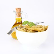 Penne With Pesto And Olive Oil Stock Photo