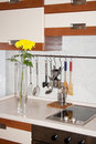 Free Vase With Yellow Chrysanthemums On Kitchen Royalty Free Stock Image - 14861626