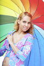 Free Beautiful Pregnant Girl With A Rainbow Umbrella Stock Image - 14865941