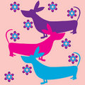 Free Funky Dogs Flowers Retro Background Royalty Free Stock Photos - 14867408