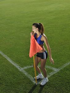 Free Young Woman On Corner Of Soccer Stadium Royalty Free Stock Photography - 14860507