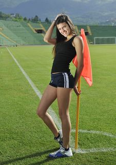 Free Young Woman On Corner Of Soccer Stadium Stock Image - 14860991