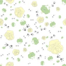 Free Seamless Pattern Of Frog With A Rose Royalty Free Stock Photo - 14862925