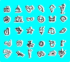 Free Beach Icon Set  Doodley Royalty Free Stock Photos - 14864348