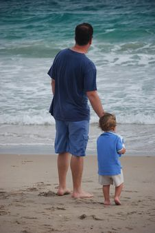 Free Father And Son Time On The Beach Stock Image - 14865331