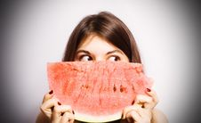 Free Girl With A Segment Of A Ripe Water-melon. Stock Image - 14865701